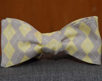Large Yellow and Tan Argyle  Bow Tie