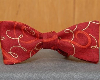 Festive Gold on Red  Bow Tie