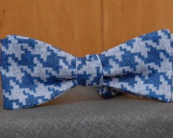 Denim-like Houndstooth  Bow Tie