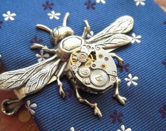 Steampunk Tie Clip Silver Bee Tie Clip Vintage Watch Movement Silver Tie Bar Gothic Victorian Men's Tie Clip Gifts For Him