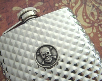 Silver Skull Flask Silver Plated Metal Flask Steampunk Style Gothic Victorian Vintage Inspired Diamond Pattern Gifts For Him