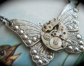Steampunk Necklace Silver Butterfly Necklace Vintage Watch Movement Small Steampunk Butterfly Jewelry