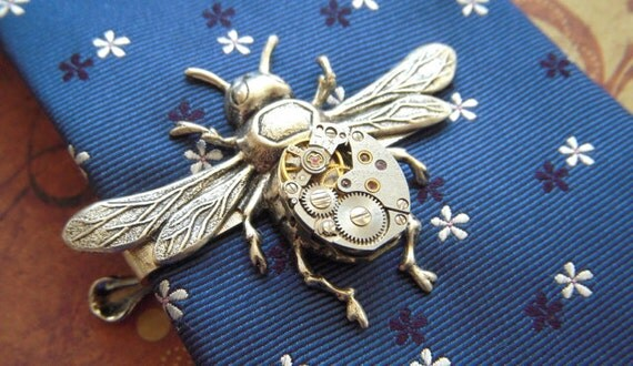 Steampunk Tie Clip Silver Bee Tie Clip Vintage Watch Movement Silver Tie Bar Gothic Victorian Men's Tie Clip Gifts For Him
