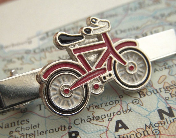 Bicycle Tie Clip Men's Tie Clip Red Bike Tie Clip Vintage Inspired Style Tie Bar Men's Gifts For Him