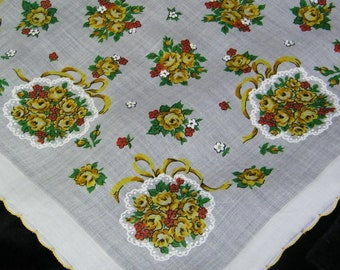 "Vintage 13"" Scalloped Yellow and Orange Bouquets of Roses Bridesmaid Handkerchief, 7917"