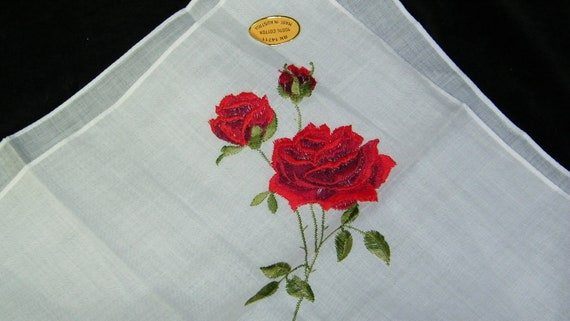 "Vintage Unused 12"" Sheer Cotton Embroidered Long Stem Red Roses Floral Bridesmaid Handkerchief, 7656"