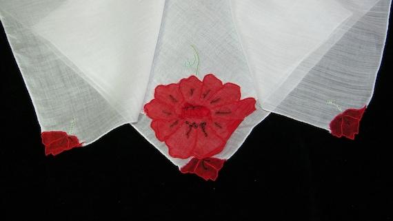 "Vintage 14.5"" Sheer Cotton Embroider Appliqued Poinsettia Christmas Handkerchief, 8043"