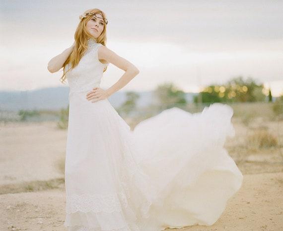 Ivory Bohemian Bride Vintage Wedding Dress - Victorian, Steampunk, Hippie, 1970s, Eco Friendly, Refashioned
