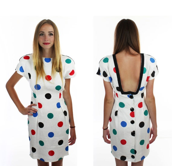 Reserved for loveyourgranny 90s Bandage Dress Vintage Sexy 1990s Bodycon White Rainbow Polka Dots With Low Back Button Details S Small