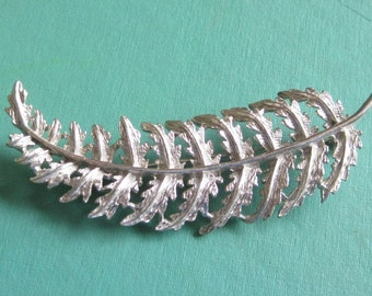 Large Vintage Feather Pin Brooch