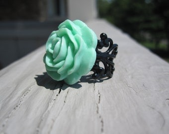 Seafoam Green Rose on Black Adjustable Filigree Ring - handmade