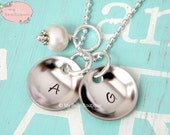 Personalized Domed / Cupped Discs Necklace with Ivory Swarovski Pearl Charm