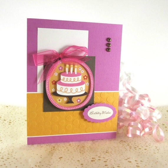 Birthday cake card, personalized, for feminine, female, girl, kids,  woman, women, sister, daughter, mom, friend, daughter