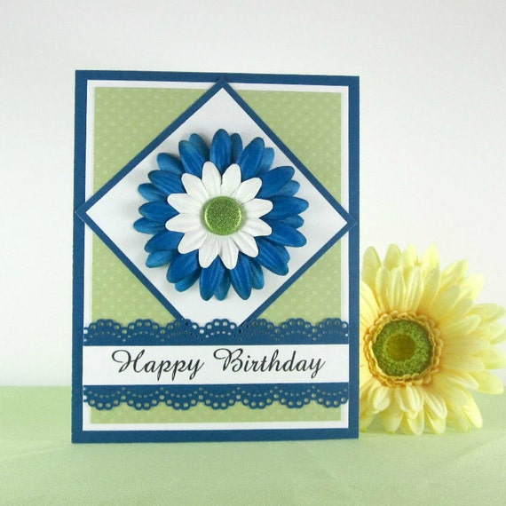 Happy Birthday Card Feminine Floral Teal And Green For