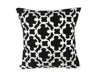 Black Pillow Cover, Throw Pillow 18x18 Pillow Cover Fretwork