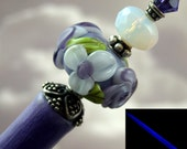 Hairstick Violet Vision In Art Glass And Sterling Silver On A Glow In The Dark Stick
