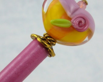 Hairstick A Happy Heart In Art Glass On A Petite Stick