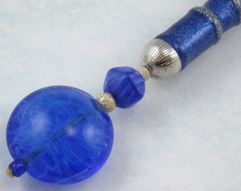 Hairstick Endless Star In Art Glass And Sterling Silver On A Glitter Stick