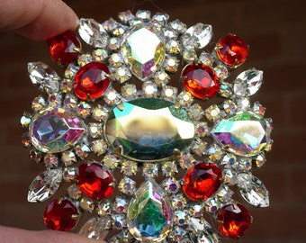 Vintage Pin or Brooch, Red & Clear Aurora Borealis Crystal, Signed