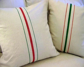 red and green grainsack christmas pillows - vintage style - stripe - canvas  - christmas pillow covers - christmas decoration