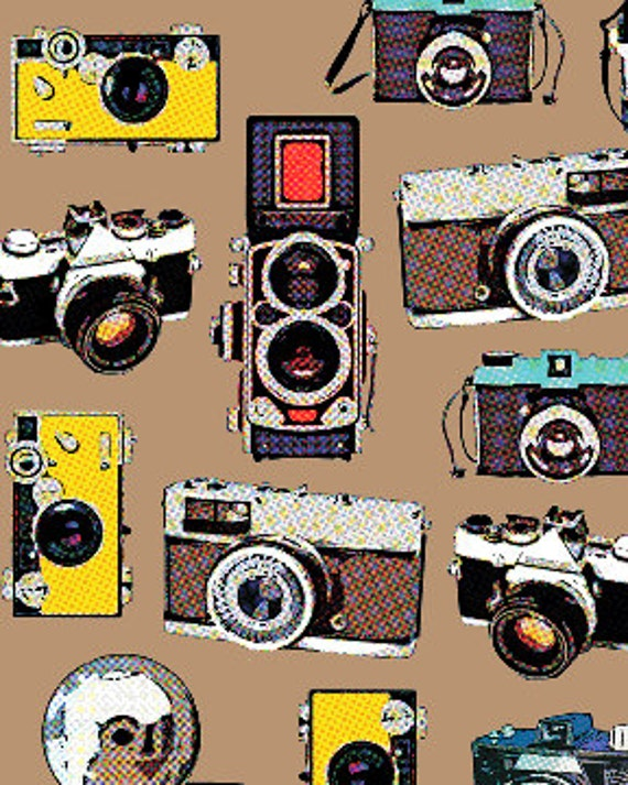 Vintage Cameras Tan Brown The Times of Your Life Collection by Maria Kalinowski Canvas Kanvas Studios for Benartex Fabrics  - 1 Yard