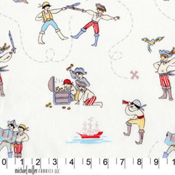 Out to Sea Fabric A PIRATES LIFE Ahoy There White by Sarah Jane for Michael Miller Fabrics  - 1 yard