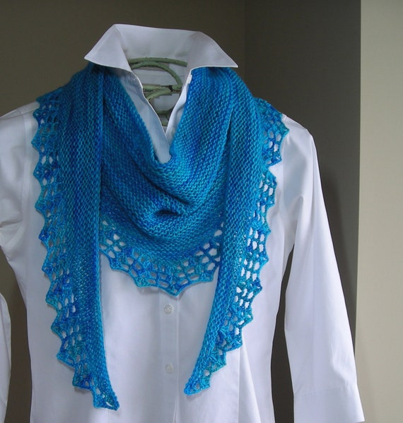 Knitting Pattern Downloadable PDF- Handpaint Scarf- crochet trim - scarf cowl shawl wrap -  pattern using handpaint sock yarn