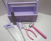Child's Wooden Tool Box with Tools~Tool Box for Girls~Photo Prop~Wooden Toy~Pretend Play~Birthday Gift~Christmas Gift~Learning Toy~Education