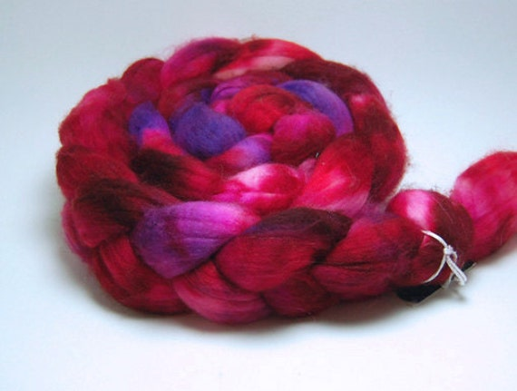 Candy Hearts - 4 oz Red Pink Purple Handpainted Superwash Merino Wool Top Roving