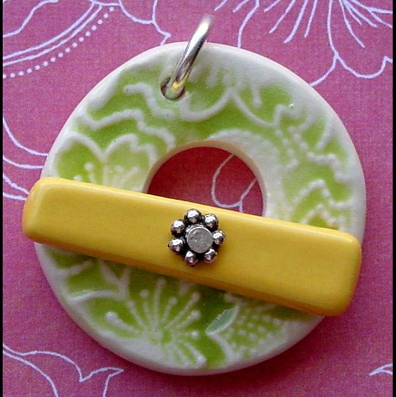 Lemon Lime Cherry Blossoms - Ceramic Focal Toggle Clasp