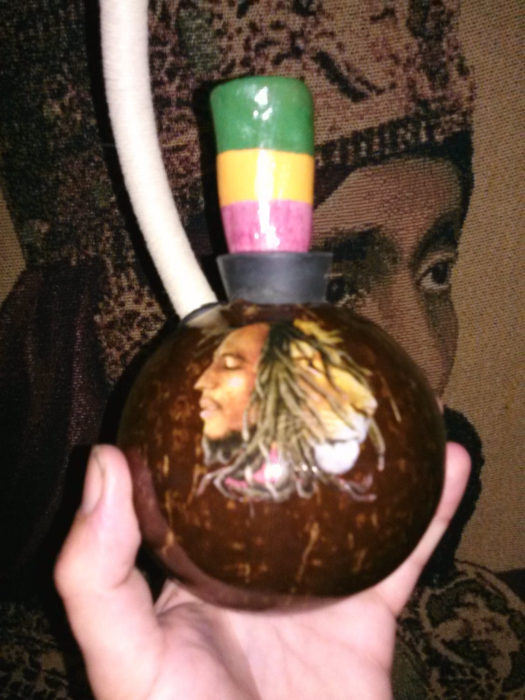 Bob Marley Peace Pipe Coconut Chalice Rasta