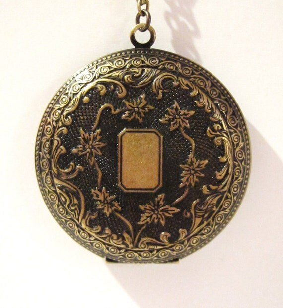 Pendant necklace locket necklace large round locket antique brass locket floral locket long chain necklace -Arabian Nights Pendant necklace
