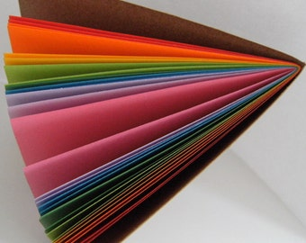 """Rainbow Notebook A6 (6x4"""") -  Kraft covered Notebook with bright Rainbow Pages"""