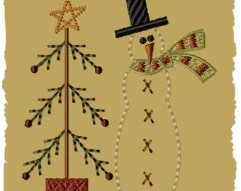 Snowman with Tree--5x7--Primitive Embroidery Design--INSTANT DOWNLOAD