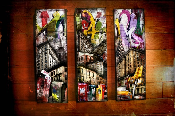 New York Icons&Graffiti Triptych-original mixed media,graffiti,phototransfer,urban landscape,ready to hang street art