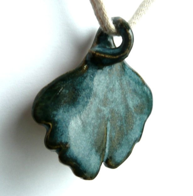 Ceramic Jewelry Pendant For Necklace Stoneware Ginkgo Tree