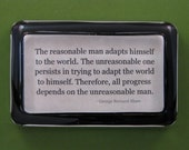 "George Bernard Shaw ""Reasonable Man"" Quotation Rectangle Glass Paperweight"