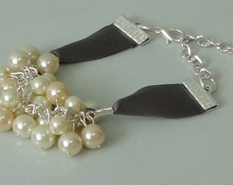 PICK Your COLOR Ivory & Champagne Pearl Cluster Gift For BRIDESmaid WEDDING Bracelet
