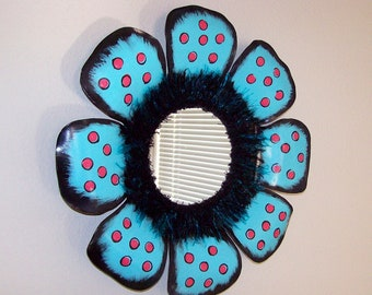 vinyl record mirror wall hanging home decor wall decor turquoise and raspberry repurposed