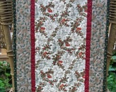 Quilted Christmas Table Runner Cardinals and Holly Leaves