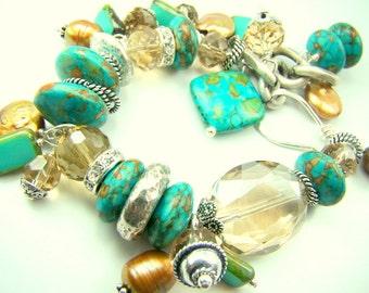 Turquoise bracelet, turquoise and gold, turquoise charm bracelet, chunky pearl statement bracelet... DUNES