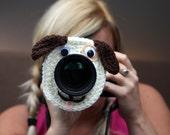 Camera lens buddy. Crochet lens critter puppy. Photographer helper