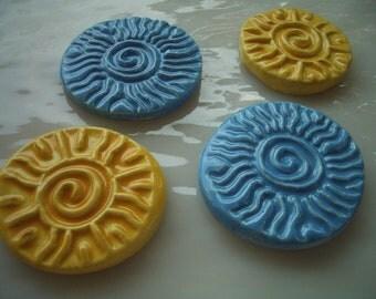 QR - 4 BEAUTIFUL NEW Suns - Ceramic Mosaic Tiles