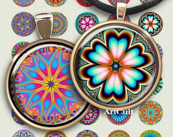 1 inch (25mm) printable circle images COLOR SPARKS Digital Collage Sheet for pendants magnets bottle caps bezel settings craft projects