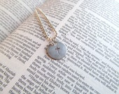 Christian Cross Silver Hand Stamped Charm and Necklace