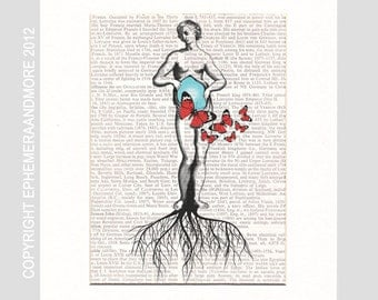 WOMAN Inner Beauty art print wall decor Fertility Pregnancy Sexuality Female Anatomy anatomical illustration on dictionary book page 8X10