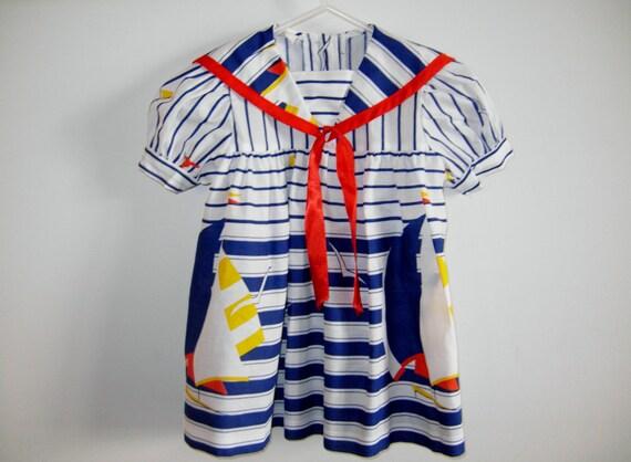 Vintage Striped Nautical Baby Dress