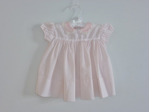 Vintage Soft Pink Polka Dot Baby Dress