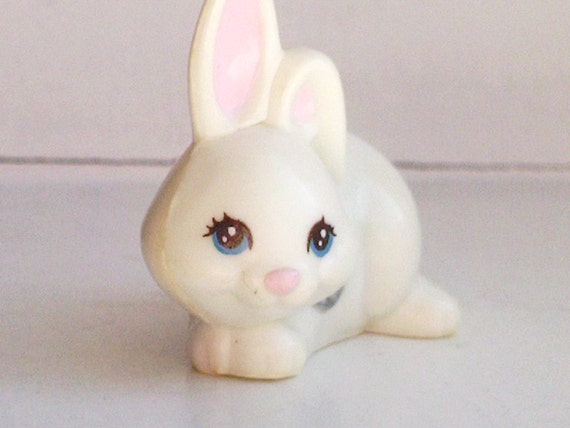 White Bunny-- vintage Kenner Littlest Pet Shop 1990s toys -- mommy and babies set --  rabbits forest woodland woods animals miniatures