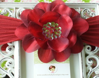 NEW ITEM----Baby Girl Sequin Flower Clip and NYLON Headband------Dark Red
